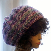 knit Slouch Hat  Purple