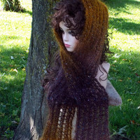 Hand Knit Scarf - Mohair Brown