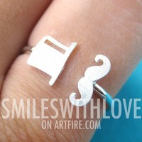 Adjustable Mustache and Top Hat Ring in Silver