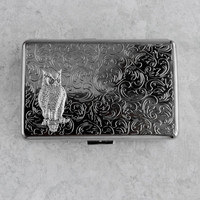 Cigarette Case Owl Metal Wallet Card Holder Large Size Vintage Style Silver Plated Gothic Victorian Steampunk Holds 18 100&#x27;s