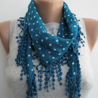 15% SALE Dark teal polka dot cotton lace scarf, spring, summer scarf