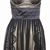 Metallic Black Bustier Dress