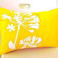Yellow Cardinal on Agapanthus Rectangle Pillow