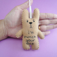 Christmas in July 20% OFF Funny ornaments, I'll punch your face, funny bunny