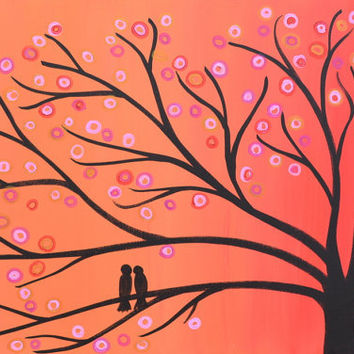 CIJ SALE Orange Whimsical Two Birds in a Tree Painting