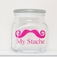 My Stache - Mustache Money Jar - Curly Handlebar Moustache - HOT PINK