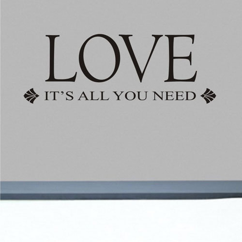 LOVE - It's all you need wall decal quote on chuckebyrdwallart.com