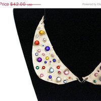Christmas in July Sale Peter Pan Collar: Embellished Statement Necklace