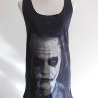 Joker Heath Ledger Batman The Dark Knight Movie --- Joker Shirt Women Tunic Vest Tank Top Women Sleeveless Singlet Black T-Shirt Size S , M