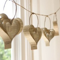 Shakespearean paper garland of hearts by bookity on Etsy