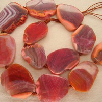 Beautiful Chunky Light Magenta Red Agate Freeform Polished Slab Beads
