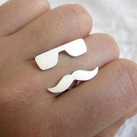 Mr Mustache w/ Rayban adjustable Sterling by SmilingSilverSmith