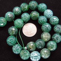 Beautiful Fire Agate Green White Round Faceted Beads 16mm