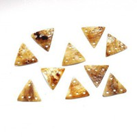 Gold Mother of Pearl 13mm Triangle Shaped Drops MOP102
