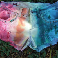 Rainbow Studded Cutoff Shorts