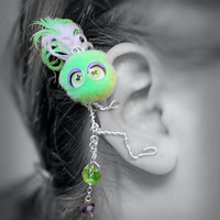 Ear Cuff - Monster, Creature, Critter, Wire Wrap, Feathers, Pompom, Neon Green, Lavender Purple OOAK Jewelry