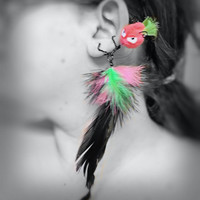 Ear Cuff - Monster, Creature, Critter, Punk, Mohawk, Wire Wrap, Feathers, Pompom, Neon, Green, Pink, Black OOAK Jewelry