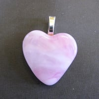 Pink Glass Heart Pendant  - One of a Kind - Hypnotic - 3936