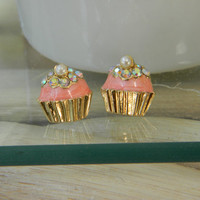hand-painted cupcake stud earrings