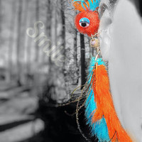 Ear Cuff-Brooch Pin Pendant Monster, Creature, Critter, Feathers, Wire Wrap, Pompom, Dot Bead, Turquoise Blue Orange Peacock -OOAK- Jewelry
