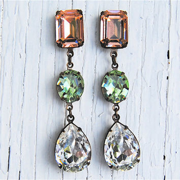 Peach, Green, Clear Diamond Swarovski Earrings
