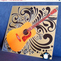 ON SALE Guitar Mirror Art  - Wall Decor - Wall Vinyl