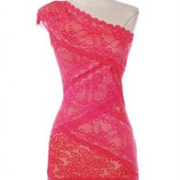 Coral One Shoulder Lace Dress