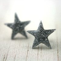 star post earrings in sparkly silver