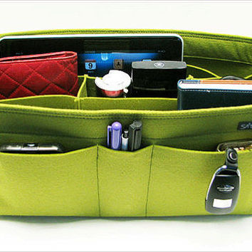 X15. Yellow-green felt bag organizer  - X large size for travel ((W 14in H 6.7in D 5.5in ), also for a school / baby bag, desk, car & etc.