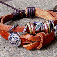 Leather cuff wristband for men women brown Leather   Meta accessory l with adjustable Rope