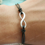 Bracelet-infinity bracelet, black karma bracelet for friends, gift for boyfriend, girlfriend