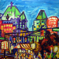 "ORIGINAL acrylic painting on stretched canvas - Shopping on Robson - 14"" x 18"""