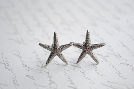 Starfish Earrings-- Oxidized metal starfish earrings on silver posts-  BEach earrings