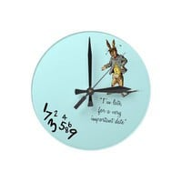 "White Rabbit ""I'm late"" wallclocks from Zazzle.com"