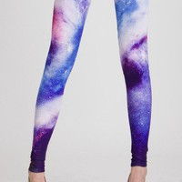 Galaxy Print Leggings in Blue - Retro, Indie and Unique Fashion