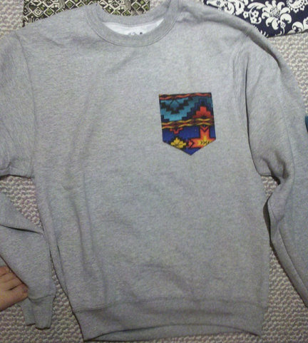 Grey Crew Cut Sweatshirt with Aztec Pocket