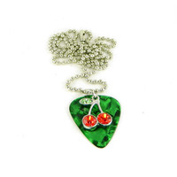 Rockabilly Guitar Pick Necklace Cherries on Green Fender Marble