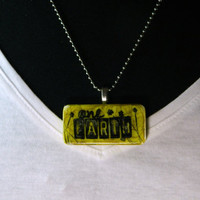 Ink Stained Stamped Abstract Domino Necklace Dyed and Hand Stamped