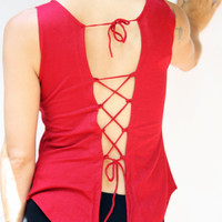 Funky open back red top, criss-cross tying open back fairy tank top.