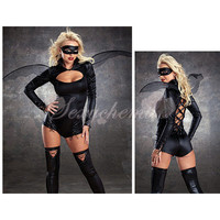 Black Angel Eif Sexy Bat Adult Women Halloween Costume