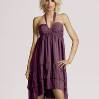 Dusky Purple Flared Crepe Polka Dot Dress
