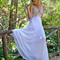 White Chiffon Maxi Sexy / Grecian Gown / Wedding Dress - Handmade Gown  / Free Shipping