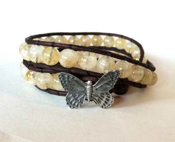 Citrine Butterfly Leather Bracelet,Chan Luu, Beaded Wrap Bracelet