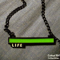 Glowing Life Bar Necklace - video game jewelry geek pendant health bar zelda skyrim metal gear
