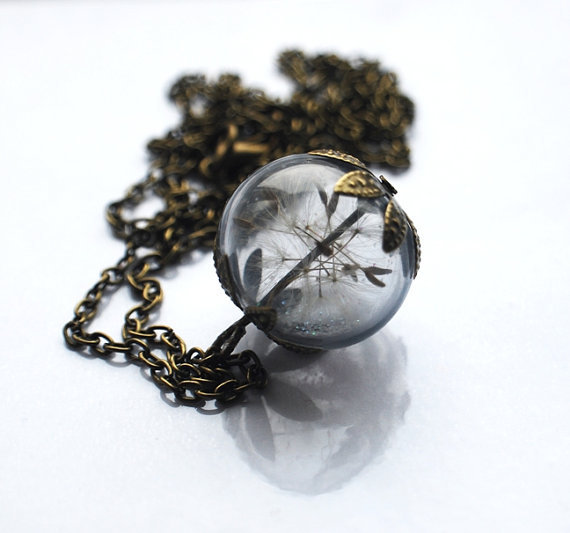 Real Dandelion Necklace 09 Real Dandelion Seeds   Make A Wish Large Bead Necklace Botanical  Glass Orb Globe Beadwork