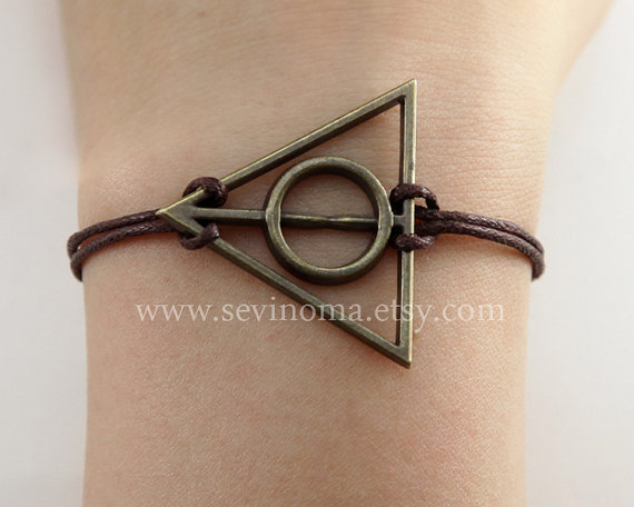 Deathly Hallows bracelet, antique brass deathly hallows charm brown wax rope bracelet, Harry potter