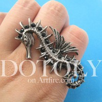 3D Seahorse Animal Adjustable Ring Double Ring in Silver