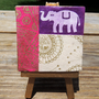 Baby Elephant on Mini Canvas with matching Gold Easel