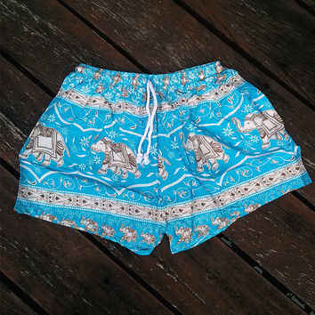 Blue Elephant Shorts Print Beach Hippie Tribal pants Gypsy shorts Tribal Boho Clothing Clothes Hipster elephants Wome Hippy Dress Tank pom
