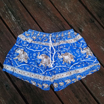 Dark Blue Elephant Shorts Print Beach Hippie Tribal pants Gypsy shorts Tribal Boho Clothing Clothes Hipster elephants Wome Hippy Dress Tank